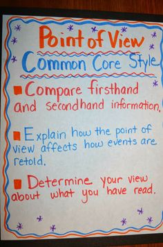 Common Core's Student Expectations for Point of View.  RL.6 and RI.6