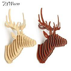 KiWarm 3D Puzzle Wooden DIY Model Wall Hanging Deer Head Elk Wood Animal Wildlife Sculpture Figurines Gift Crafts Home Decor #Affiliate