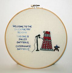 This week's Craftster Pick on Mr X Stitch is DeathBeforeDishes' brilliant Dalek poetry hand embroidery!