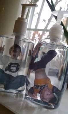 Print pictures on transparent paper, laminate and pop in clear bottles with clear soap.
