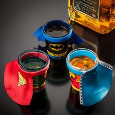Justice League Unite! Shot glasses, but wouldn't that little superhero in your life LOVE to drink his apple juice out of these? Think Geek, you are awesome!