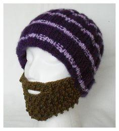 Knitted hat with beard by 4erkio via DaWanda