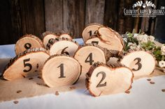 Rustic Country Weddings Rustic Wedding Table Numbers Set Tree Slice Table by CountryChapel - Rustic Table Numbers, Wedding Table Numbers, Wedding Tables, Country Wedding Decorations, Country Weddings, Decor Wedding, Deco Table, Wood Slices, Rustic Wedding