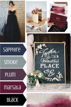 Winter wedding theme > sapphire blue, smoke grey, plum, marsala red and dramatic black