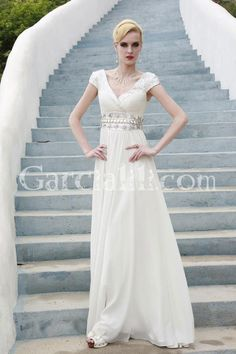 Sexy Sheath/Column V-neck Cap Sleeve Chiffon Evening Dress With Beads In Waist