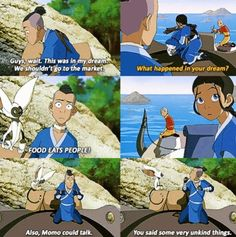 Shore when Aang has crazy dreams about Momo talking everyones concerned but when Sokka has one everyone just thinks he's crazy. Wait! Aang always thinks Momo talks o.O