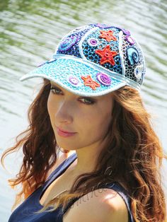 """Crochet baseball cap """"SEA"""" (lace cap, summer crochet cap, women's baseball cap…"""