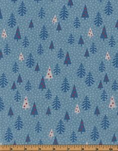 Christmas Trees on Blue Background - Merry Taupe Collection - Lecien Fabrics - 100% Cotton Fabric by QuiltsOnTheFly on Etsy