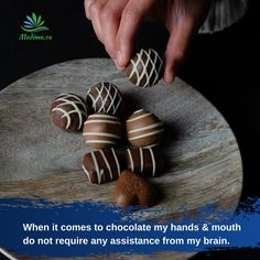 I kind of don't think when I reach for chocolate. My hands are on autopilot and just pop it into my mouth! Can you just eat ONE bite? I Love Chocolate, Chocolate Heaven, Chocolate Lovers, Sweet Recipes, Healthy Recipes, First Bite, Coconut Shrimp, Stuffed Mushrooms, Things To Come