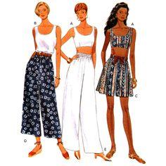 Butterick Sewing Pattern 3454 UNCUT Misses' Pants,Shorts,  Top SIZE: 12-14-16