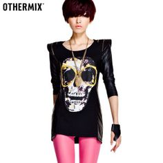 $33.44 Women in Autumn 2012 new Korean version of the influx of rock punk style stitching shrug skull print black long-sleeved T-shirt