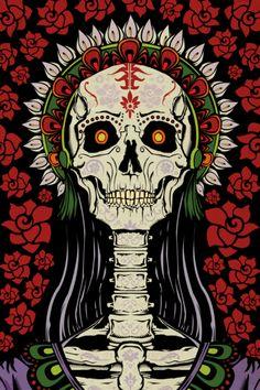 Illustration of La Catrina for Day of the Dead postcards. La Catarina Tattoo, Day Of The Dead Art, Skeleton Art, Sugar Skull Art, Sugar Skulls, Arte Horror, Mexican Folk Art, Skull And Bones, Dark Art