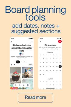 Boards are a great place to collaborate with other Creators or Pinners and showcase your content. Find out more about the latest Pinterest board planning tools including dates, notes and suggested sections.