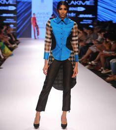 Blue Silk Block Printed Shirt With Straight Pants #indianroots #fusionwear #pants #shirt #silk #blockprint #occasionwear #summerwear