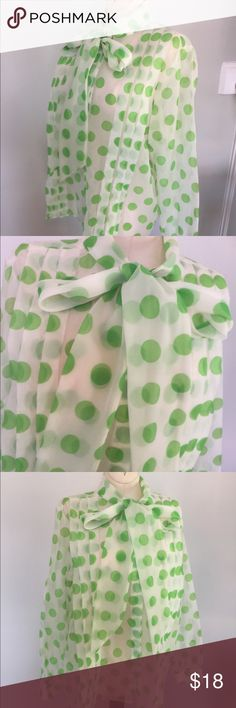 """Vintage Sheer Polka Dot Blouse Cute vintage Blouse with green Polka dots,Sz L.No Tags but Bust measures 44"""" and length is 26"""".Nice vintage condition. Vintage Tops Button Down Shirts"""
