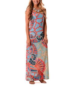 Another great find on #zulily! Turquoise & Coral Mixed Design Sleeveless Maxi Dress #zulilyfinds