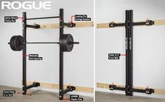 Rogue Fold Back Wall Mount Rack - use to create a minimal-footprint garage gym. Home Gym Basement, Diy Home Gym, Diy Power Rack, Gym Rack, Half Rack, Squat Stands, Folding Walls, Wall Mount Rack, Rogue Fitness