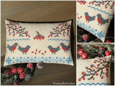 PDF primitive cross stitch sampler pattern: Winter - Bullfinches and Ashberry