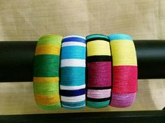 Silk Thread Bangles Design, Silk Bangles, Thread Jewellery, Diy Jewellery, Handmade Jewelry, Beaded Necklace Patterns, Fancy Blouse Designs, Bangles Making, Thread Art
