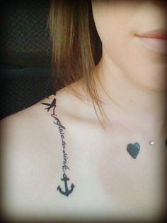 Anchor tattoo with a sparrow!!! Aww great idea!!!