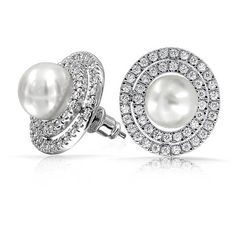 Double Oval CZ White Pearl Bridal Stud Earrings Gatsby Inspired ($21) ❤ liked on Polyvore featuring jewelry, earrings, stud-earrings, white, sparkly stud earrings, white pearl earrings, pave stud earrings, white earrings and pearl jewellery