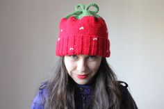 Cute slouchy beanie winter hat for women. strawberry by GeromeSM, $28.88