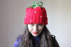 Slouchy invierno gorro para las mujeres. Red Hat. por MyTinyTree, $29.88