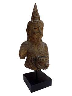 Busto de Buda Rústico em Pedra 45cm - Bali - http://www.artesintonia.com.br/busto-de-buda-rustico-em-pedra-p-decoracao-45cm-arte-bali