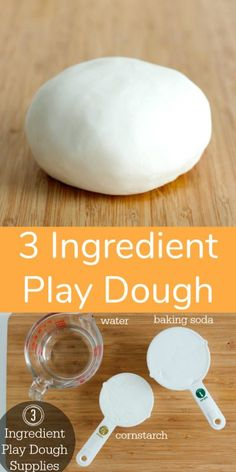 Play dough is one of my favorite homemade crafts to make with my kids.This recipe for 3 ingredient play dough using baking soda and cornstarch is the best! Crafts For Kids To Make, Kids Crafts, Crafts For Rainy Days, Preschool Crafts, Crafts With Toddlers, Fun Recipes For Kids, Arts And Crafts For Kids Easy, Make Your Own Playdough, How To Make Clay