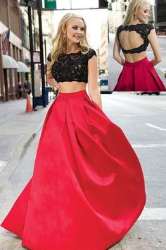 Floor-Length Two Piece Prom Dress Evening Dresses With Appliques M2704