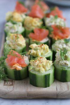 Quick and easy cucumber bites. .  Three ways!! Smoked salmon with sriracha cream cheese, egg salad and tuna salad