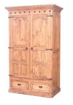 Spanish Styled Armoire With Decorative Moulding And Concho Studs. Inside  Has 2 Additional Drawer And