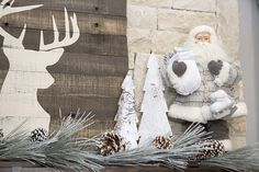 Christmas mantel decor in neutral colors