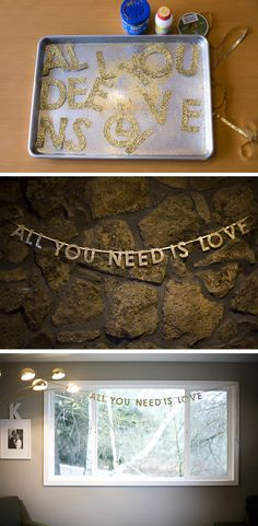 Valentine's + Beatles Gold Garland. - but then NEW YEAR'S EVE