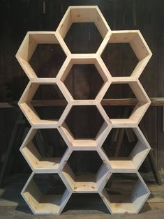 Honeycomb The Hawaiian Vacation: Leis, Luaus, And Luscious Landscape Nothing says tropical paradise Honeycomb Shelves, Hexagon Shelves, Crate Shelves, Hanging Shelves, Floating Shelves, Shoe Storage, Storage Spaces, Record Storage, Office Shelf