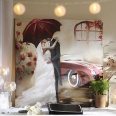 Stolen Kiss Canvas Art Print | Kirkland's  I still need this one to go with the red umbrella couple