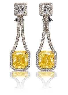 Earrings in diamonds & yellow diamonds (12.50 tw GIA FLY VS1/SI1, 2 big whites 2.25 tw GIA D VS2/E VS1)