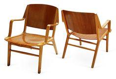 "Michael Kucmeroski, Fritz Hansen AX Chairs, Pair of molded wood AX chairs by Peter Hvidt Orla Mølgaard-Nielsen for Fritz Hansen, 1949, Austria 22''L x 23.5''W x 29.5''H; seat, 14""H  1399 - orig. 3000"