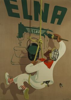 Elna Sewing Machine Poster 1946 Original Poster – Rue Marcellin Original Vintage Posters & Prints @Rue Mapp Mapp Mapp Marcellin #Upscaleyourwalls with ruemarcellin.com #sewing