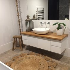 In love with the timber top vanity – either for bathroom or ensuite - Modern Timber Bathroom Vanities, Timber Vanity, Bathroom Vanity Tops, Bathroom Photos, Bathroom Renos, Laundry In Bathroom, White Bathroom, Bathroom Renovations, Bathroom Interior