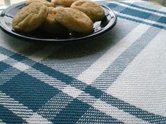 Nutfield Weaver's blue and white twill kitchen tea towel