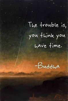 "The trouble is, you think you have time."" It creeps up slowly and all those things you said you would do tomorrow, well, it's to late!"