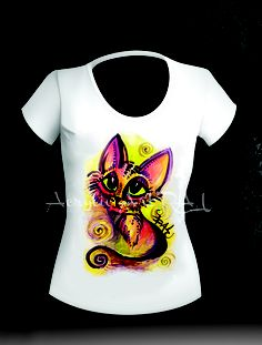 Tricou pisica visatoare (70 LEI la ArtRALU.breslo.ro) Lei, Paintings, T Shirt, Tops, Fashion, Supreme T Shirt, Moda, Tee Shirt, Paint