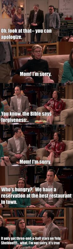"""""""What, I'm not sorry, it's true"""" - Sheldon, Amy, Penny, Leonard, Mary, Beverly and Alfred #TheBigBangTheory"""
