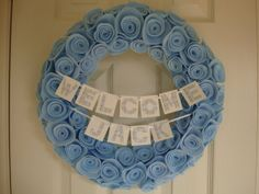 Personalized Welcome Baby Boy Girl Wreath Shower Gift Name Banner Perfect for Hospital Door Home Door and Nursery Wall Decor Choose Color