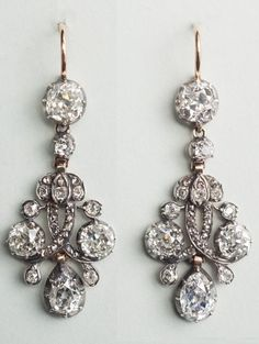 A pair of antique silver, gold and diamond earrings, Netherlands, mid 19th century. #antique #earrings