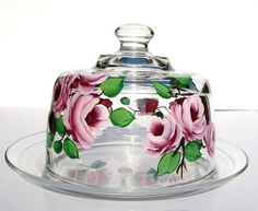 Hand painted clear glass cheese dome by Southern Ladys' Vintage.     See amazing videos, photos, tips & news of pictures of wine candles and more. see it @ http://www.photopinns.com