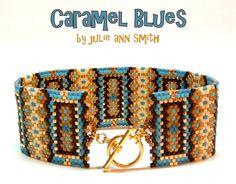 Julie Ann Smith Designs CARAMEL BLUES Odd Count Peyote Bracelet Pattern by JULIEANNSMITHDESIGNS on Etsy https://www.etsy.com/listing/243841907/julie-ann-smith-designs-caramel-blues