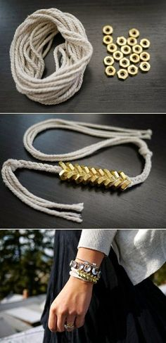 DIY Braided Hex Nut Bracelet