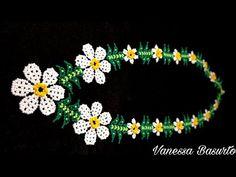 COLLAR DE FLORES ESTILO HUICHOL DE CHAQUIRAS/MOSTACILLAS #TUTORIAL - YouTube Youtube, Diy, Videos, Bangle Bracelets, Flower Necklace, Chokers, Hand Embroidery, Bricolage, Do It Yourself